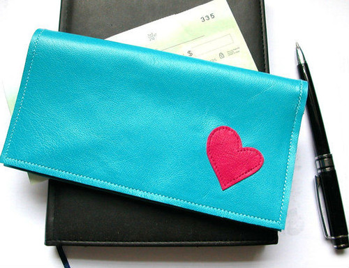 Berri Leather Checkbook Holder with Heart Applique