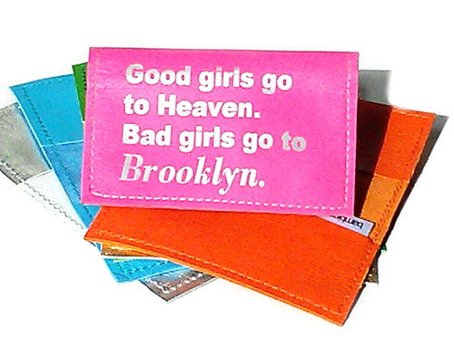 Good Girls Go To Heaven.  Bad Girls Go To Brooklyn Personalized Location Business Card Holder