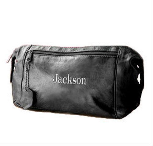 Men's Personalized Leather Dopp Kit, Toiletry Bag & Trave Kit