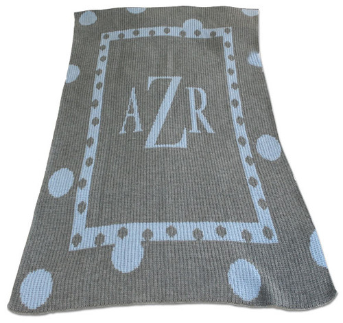 Polka Dot Monogram Blanket - Heather Gray Base & Pale Blue Monogram / Accent, Antique Roman Font