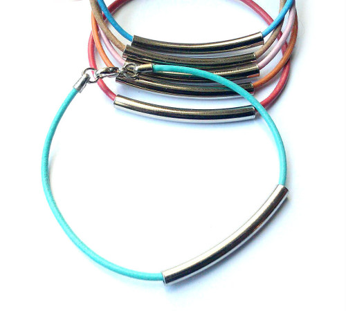 Julia Leather Cord Bracelet with Metal Tube