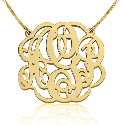 Gold Plated Script Monogram Necklace - Three Letters
