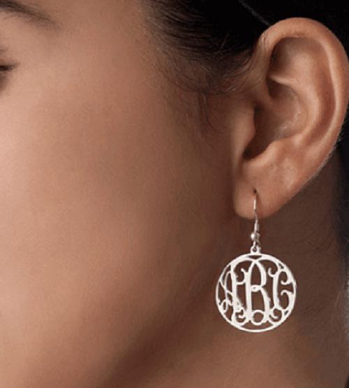 Sterling Silver Script Monogram Earrings with Border