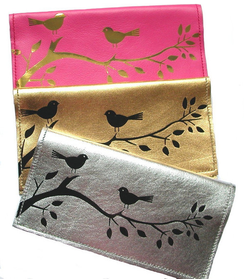 Berri Leather Checkbook Cover & Checkbook Holder with Birdies