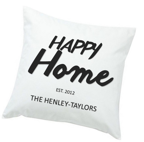 Personalized Happy Home Throw Pillow - Black