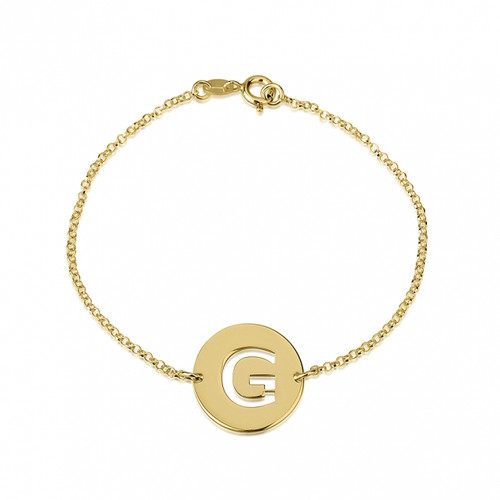 24k Gold Plated Personalized Cut Out Initial Disc Bracelet