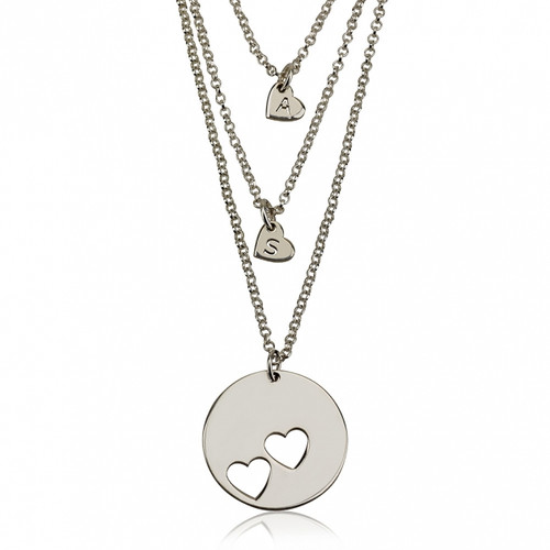 Sterling Silver Engraved Heart Necklace Set