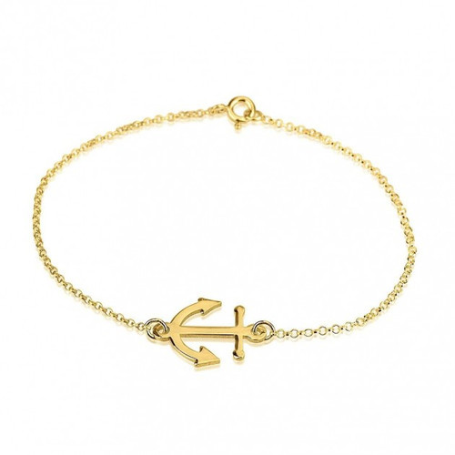 24k Gold Plated Anchor Bracelet with Rolo Chain
