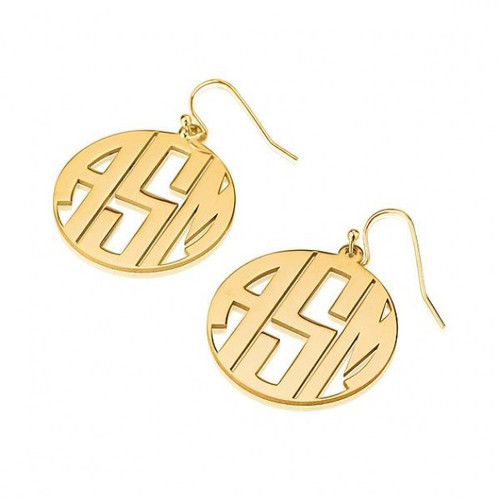 24k Gold Plated 3 Capital Letters Monogram Earrings with Border