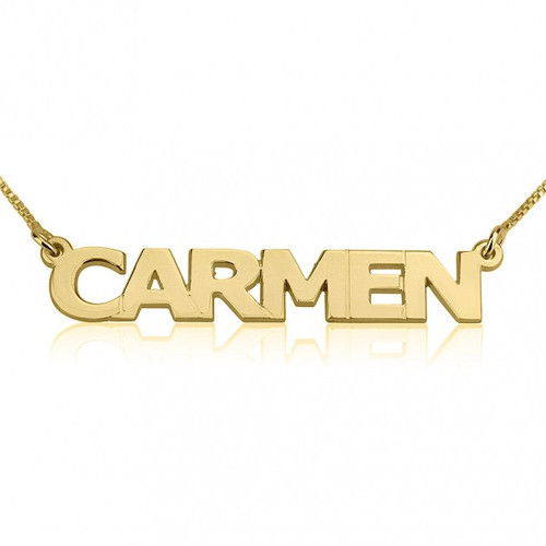 24K Gold Plated Personalized Block Letters Name Necklace