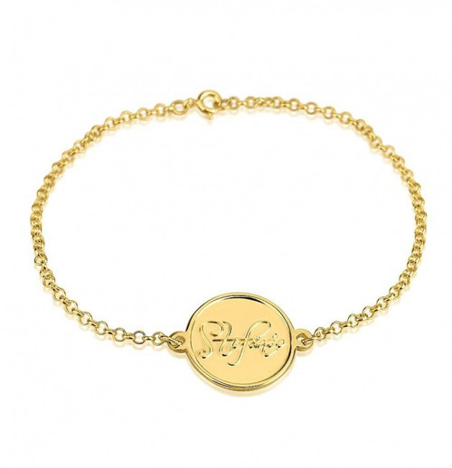 Penny 24k Gold Plated Personalized Script Name Bracelet
