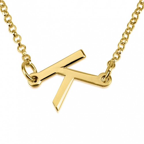 24K Gold Plated Slanted Initial Necklace