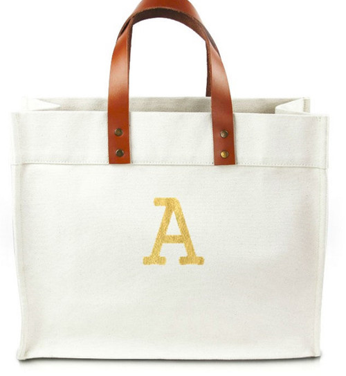 Chelsea Personalized  Canvas Tote w/ Leather Straps - Courier New