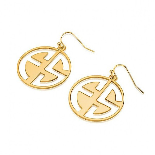 2 Capital Letters Negative Space Font Monogram Earrings - Gold Plated