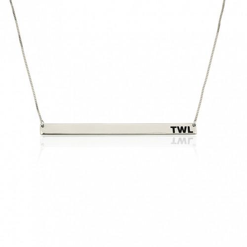 Tilda Thin Monogrammed Bar Necklace - Sterling Silver