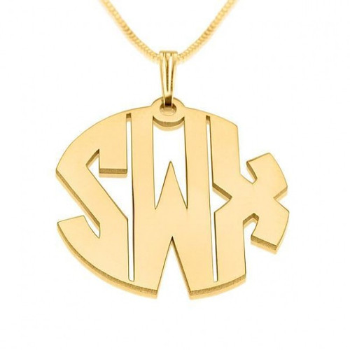 3 Capital Letters 24K Gold Plated Circle Monogram Necklace