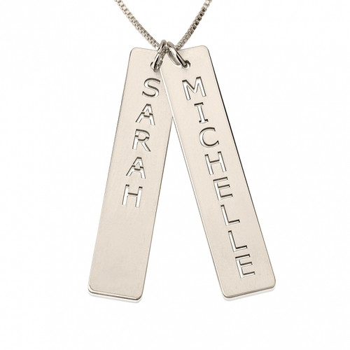 Personalized Sterling Silver  2 Set Vertical Bar Necklace