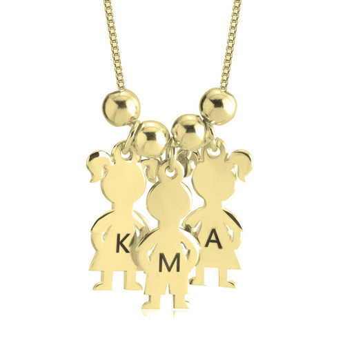 Personalized Mother's Boy & Girl Necklace -24K Gold Plated - Initials