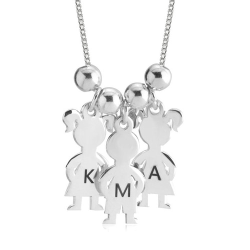 Sterling Silver Personalized Mother's Boy & Girl Necklace