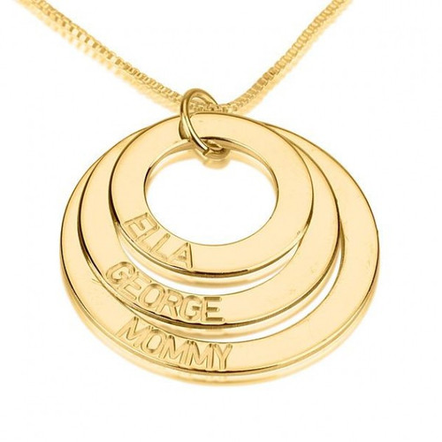 Personalized Three Ring Engraved Circle Necklace - 24K Gold Plated