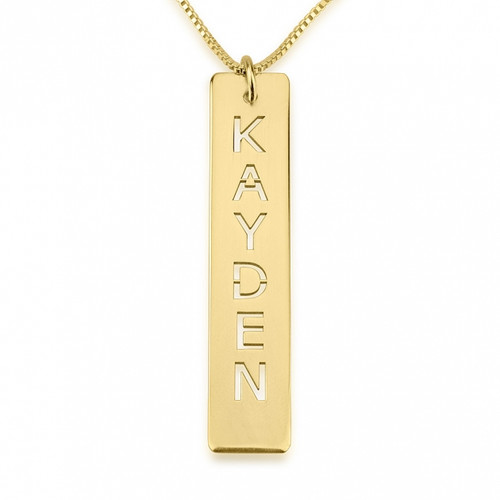 Name Cut Out Personalized Vertical Bar Necklace - Sterling Silver