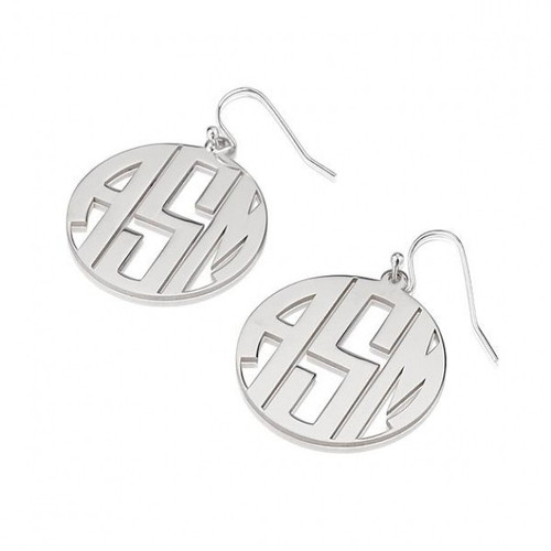 Sterling Silver Letters Monogram Earrings with Border