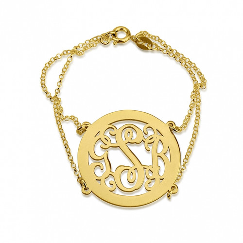 24K Gold Plated Framed Curly Monogram Bracelet with Double Chain - Rolo Chain