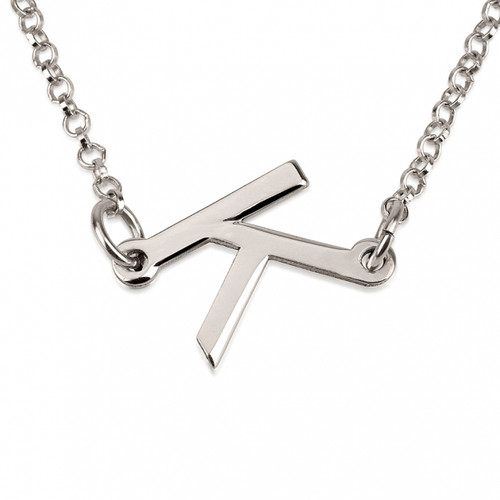 Slanted Initial Necklace - Sterling Silver