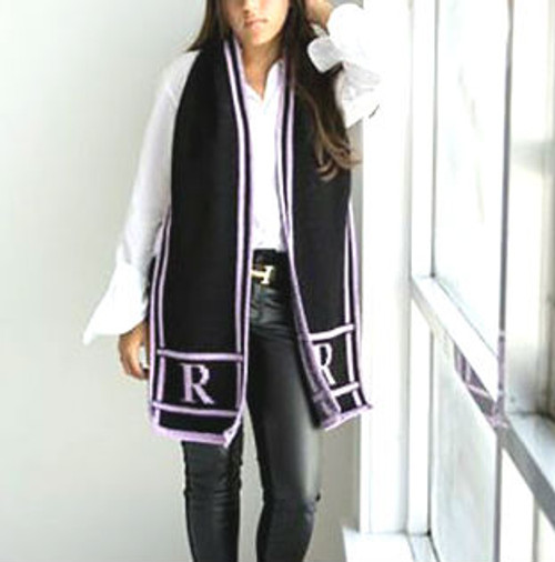 Classic Scroll Monogram Scarf - Black Base, Lilac Accent