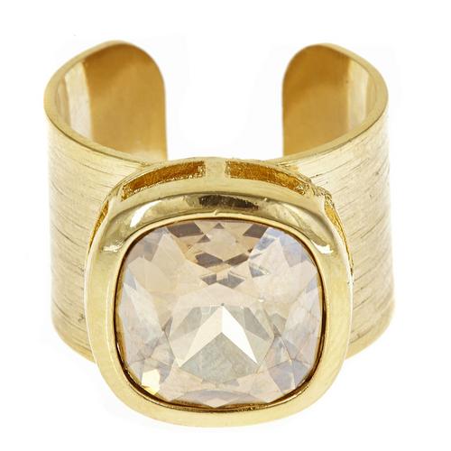 Poppy Adjustable Gemstone Ring - Yellow