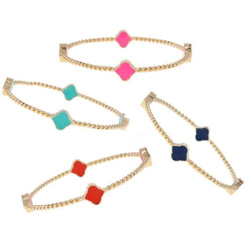 Rope Spade Enamel Bangle Bracelet