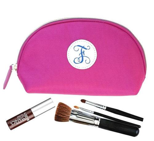 Trucco Monogrammed Nylon Make Up Bag - Hot Pink