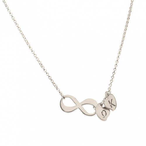 Sterling Silver Personalized Initial Necklace With Initial Hearts