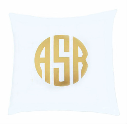 Personalized Monogram Pillow Cushion or Cover Only - Circle Monogram in Gold