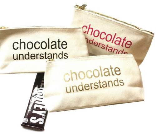 Chocolate Understands Canvas Makeup Bag