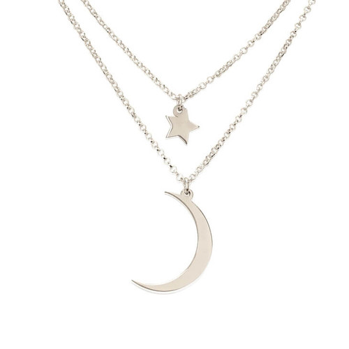 Starry Sky Moon & Star Layered Necklace - Sterling Silver