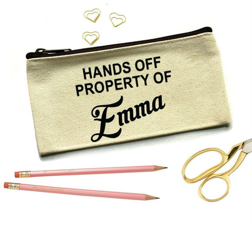Personalized Hands Off Property of Make Up Bag & Pencil Case