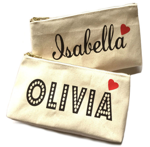 Bella Heart Personalized Canvas Pouch