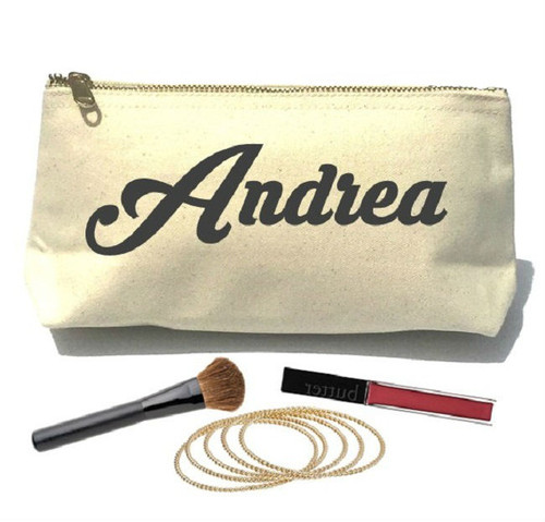 Jet Personalized Name Canvas Make Up Bag & Pouch - Script - Black