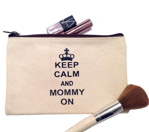 Keep Calm and Mommy On Canvas Make Up Bag