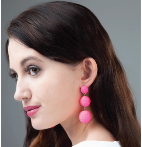 Wellington Drop Earrings - Neon Pink