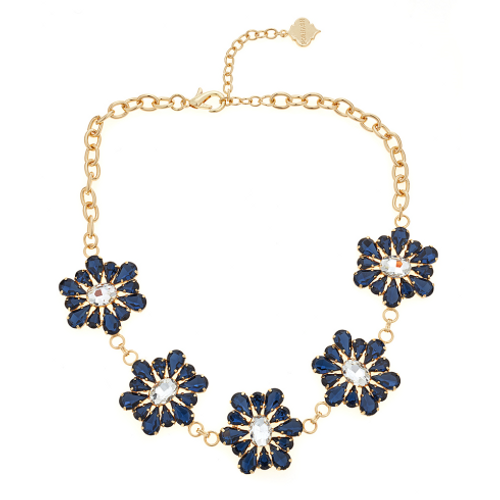 August Crystal Necklace - Navy