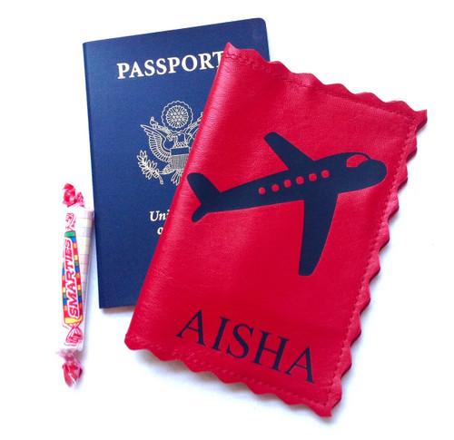 Retro Plane Personalized Leather Passport Holder | Scallop