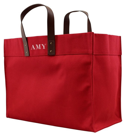Ami Oversized Personalized Monogram Canvas Tote Bag with Leather Straps - Red