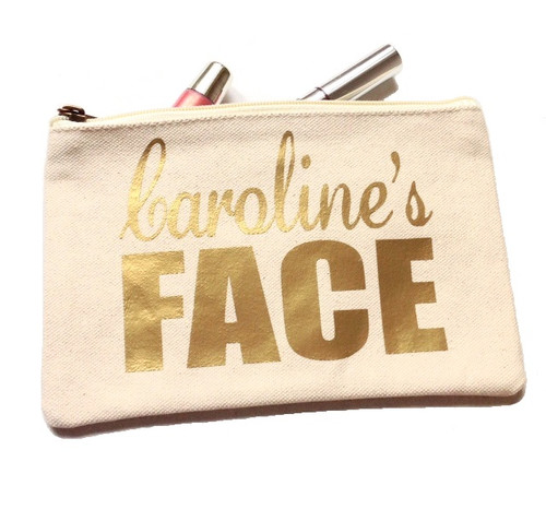 Personalized Name Canvas Make Up Bag - Gold