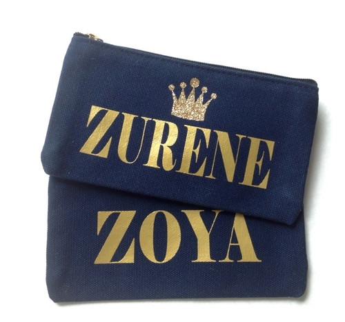 Glitter Crown Personalized Blue Canvas Makeup Bag