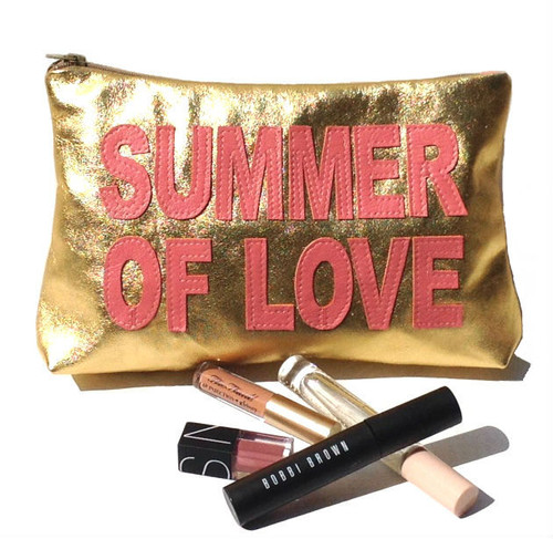 Summer of Love Personalized Leather Toiletry Bag & Make Up Pouch