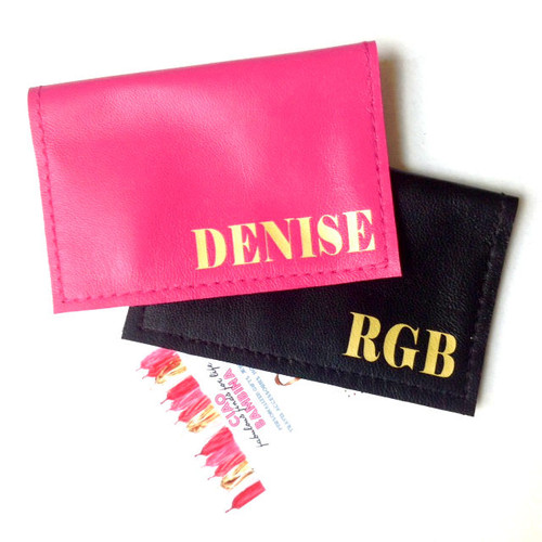 City Personalized Monogram Leather Business & Credit Card Holder