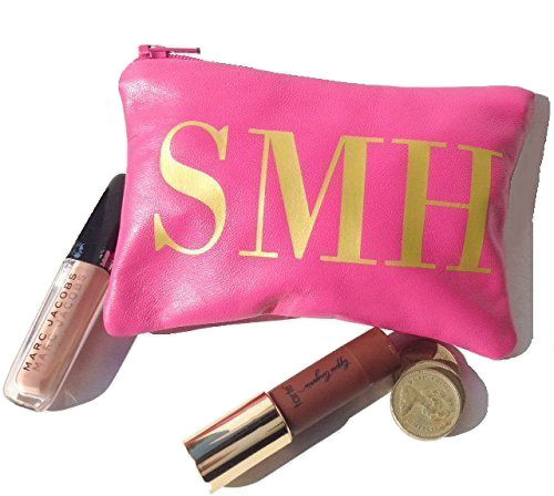 Austin Monogram Leather Change Purse  - Warm Pink