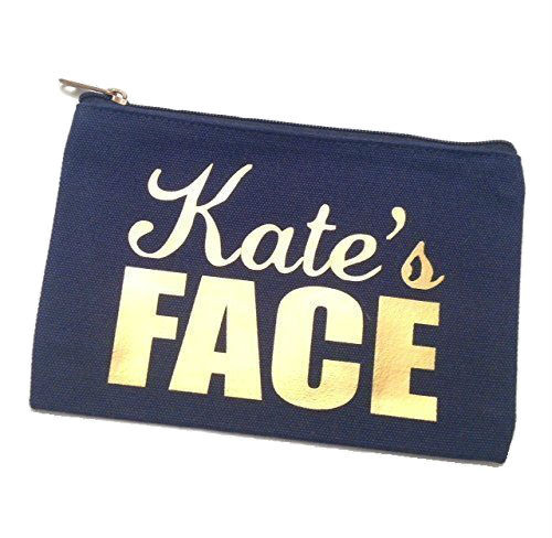 Personalized Name Canvas Make Up Bag -  Navy/Gold